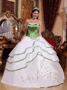 Spring Green and White Ball Gown Strapless Floor-length Organza Embroidery Quinceanera Dress