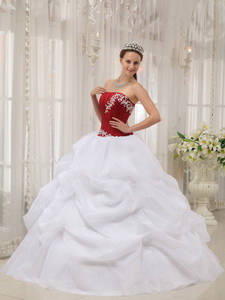 White and Wine Red Ball Gown Strapless Floor-length Taffeta and Organza Appliques Quinceanera Dress