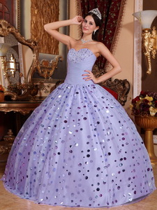 Lilac Ball Gown Sweetheart Floor-length Tulle Sequins Quinceanera Dress