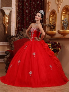 Red Ball Gown Sweetheart Floor-length Organza Appliques Quinceanera Dress