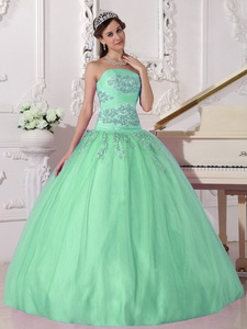Apple Green Ball Gown Strapless Floor-length Taffeta and Tulle Beading Quinceanera Dress
