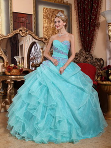Baby Blue Ball Gown Sweetheart Floor-length Organza Appliques and Ruch Quinceanera Dress
