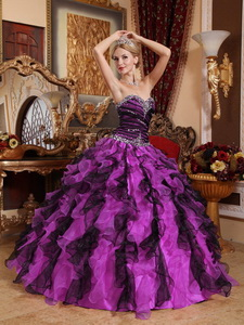 Purple and Black Sweetheart Organza Beading and Ruffles Quinceanera Dress