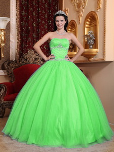 Green Ball Gown Sweetheart Floor-length Tulle and Taffeta Beading Quinceanera Dress