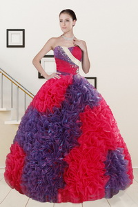 Wonderful Beading And Ruffles Multi-color Quinceanera Dress