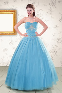 New Style Strapless Beaded Quinceanera Dress In Aqua Blue