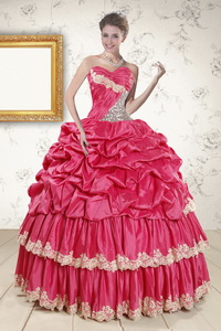 Cheap Appliques Sweet 15 Dress In Coral Red
