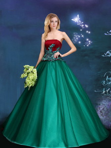 Discount A Line Strapless Dark Green Prom Gown with Appliques