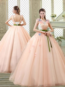 New Style Straps Quinceanera Dress With Appliques And Belt