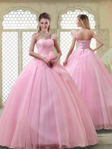 Lovely Rose Pink Quinceanera Dress With One Shoulder