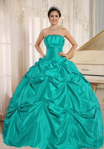 Turquoise Ball Gown Quinceanera Dress With Pick-ups For Custom Made Taffeta