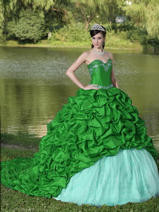 Appliques And Pick-ups Green Brush Train Exquisite Style Quinceanera Dress