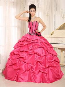 Hot Pink Beaded Quinceanera Dress With Pick-ups For Custom Made Wholesale