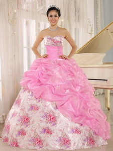 Printing Sweetheart Beaded and Pick-ups For Multi-color Quinceanera Dress For Custom Made