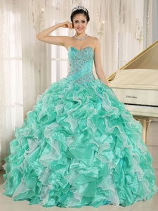 Apple Green Beaded Bodice And Ruffles Custom Made Quinceanera Dress In Anderson California