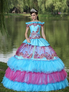 Off The Shoulder Appliques Ball Gown Quinceanera Dress Floor-length Tiered Exclusive Style
