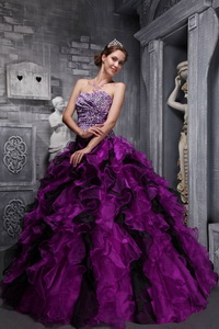 Fuchsia Sweetheart Floor-length Zebra and Organza Ruffles and Beading Quinceanera Dress