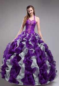Purple Ball Gown Halter Orangza Applqiues and Ruffles Quinceanera Dress