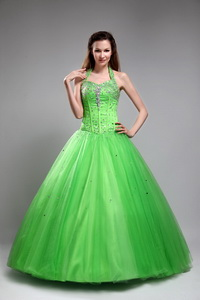 Green Ball Gown Halter Floor-length Tulle Beading Quinceanera Dress