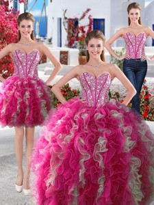 Gorgeous Hot Pink And White Detachable Quinceanera Dress With Beading And Ruffles