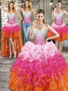 Inexpensive Rainbow Organza Detachable Quinceanera Dress With Beading And Ruffles