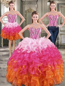 New Arrivals Rainbow Detachable Quinceanera Dress With Beading And Ruffles