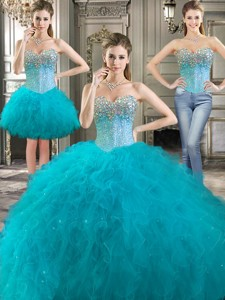 Latest Really Puffy Tulle Detachable Quinceanera Dress With Beading And Ruffles