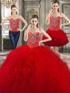 Fashionable Beaded And Ruffled Detachable Quinceanera Dress In Red