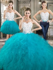 Beautiful Really Puffy Detachable Sweet 16 Dress With Beading And Ruffles