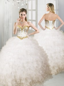 Lovely Big Puffy White Quinceanera Dress with Beading and Ruffles