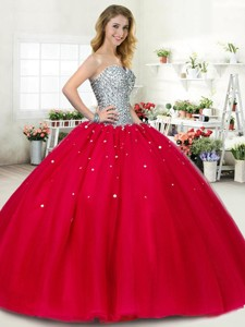 New Style Beaded Big Puffy Sweet 16 Dress in Red