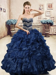 Unique Beaded and Ruffled Organza Quinceanera Dress in Navy Blue