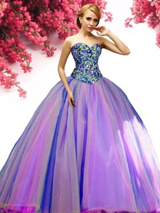 Popular Beaded Bodice Multi Color Sweet 16 Dress in Tulle