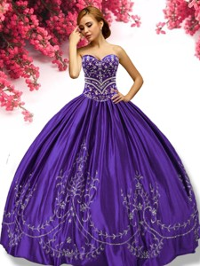 Gorgeous Beaded and Applique Taffeta Sweet 16 Dress in Purple