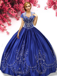 Latest Beaded and Applique Taffeta Quinceanera Dress in Royal Blue