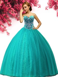 New Style Turquoise Quinceanera Dress with Beading for Spring