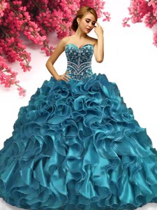 Classical Beaded and Ruffled Sweet 16 Dress in Teal