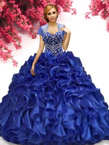 Wonderful Beaded and Ruffled Quinceanera Dress in Royal Blue
