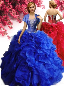 Modest Beaded and Ruffled Organza Quinceanera Dress in Royal Blue