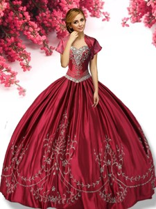 Classical Wine Red Taffeta Sweet 16 Dress with Appliques
