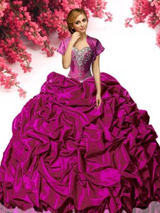 New Style Fuchsia Taffeta Quinceanera Dress with Appliques and Pick Ups