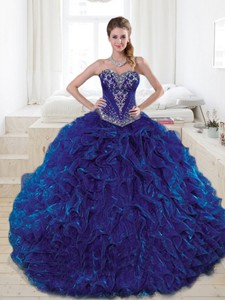 Wonderful Royal Blue Quinceanera Dress With Beading And Ruffles