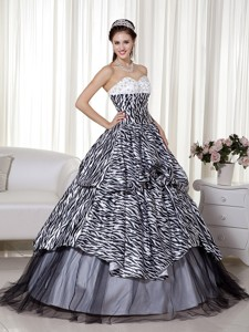 Luxurious Princess Sweetheart Floor-length Zebra And Organza Beading And Ruch Quinceanera D