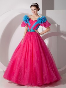 Red V-neck Floor-length Organza Hand Made Flowers Prom Dress