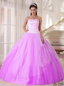White and Pink Sweetheart Floor-length Tulle Beading Quinceanera Dress