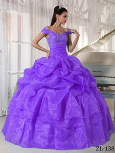 Purple Ball Gown Off The Shoulder Floor-length Taffeta and Organza Beading Quinceanera Dress