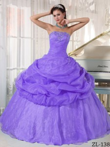 Lavender Ball Gown Strapless Floor-length Organza Appliques Quinceanera Dress