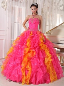 Hot Pink and Orange Ball Gown Sweetheart Floor-length Organza Sequins Quinceanera Dress