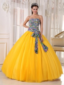 Yellow Ball Gown Strapless Floor-length Tulle and Printing Sequins Quinceanera Dress