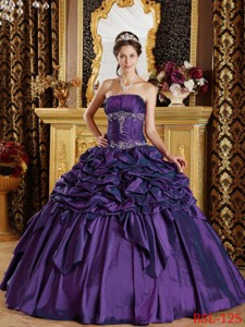 Eggplant Purple Ball Gown Strapless Floor-length Pick-ups Taffeta Quinceanera Dress